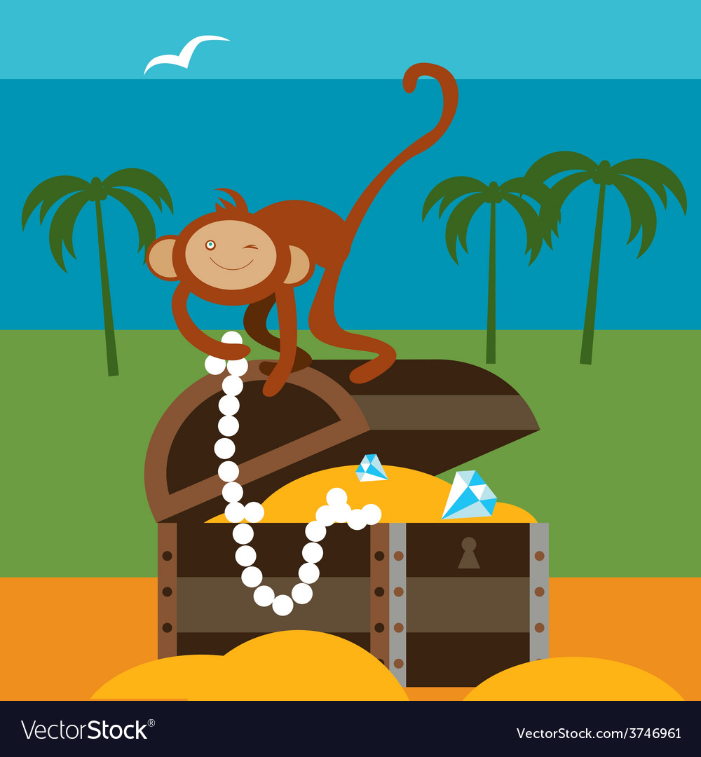 Treasures and monkey vector