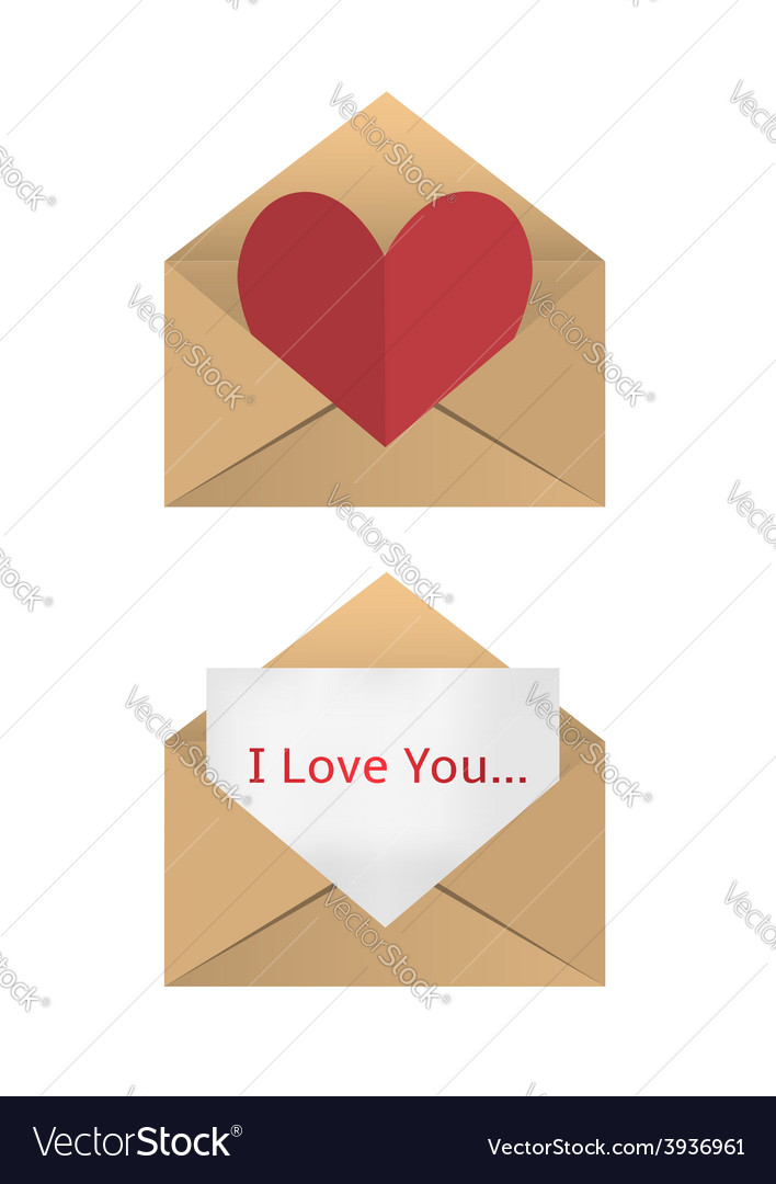 Valentine in the open envelope vector | Price: 1 Credit (USD $1)