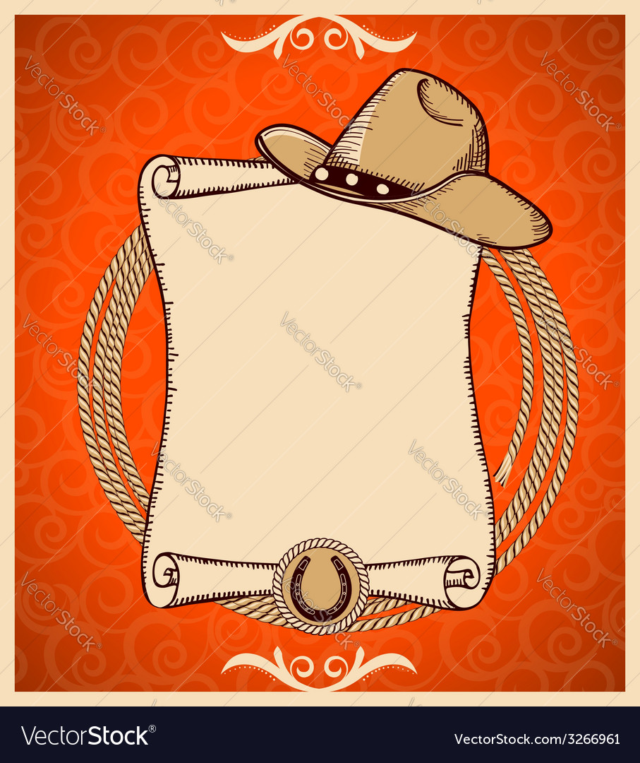 Western new year greeting card with scroll vector