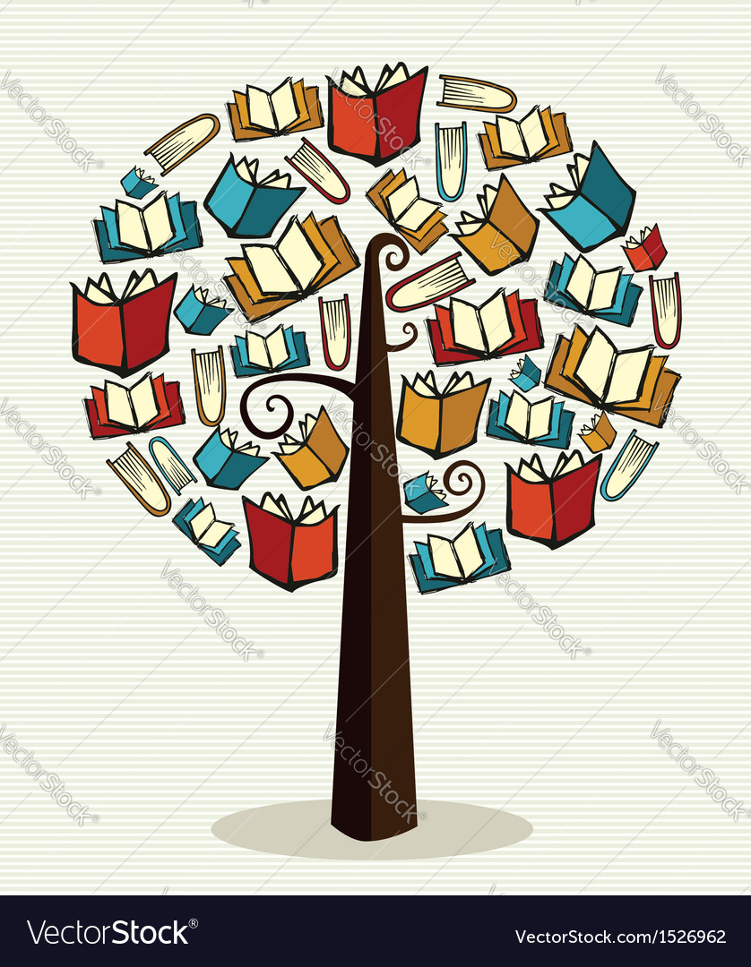 Concept books tree vector | Price: 1 Credit (USD $1)