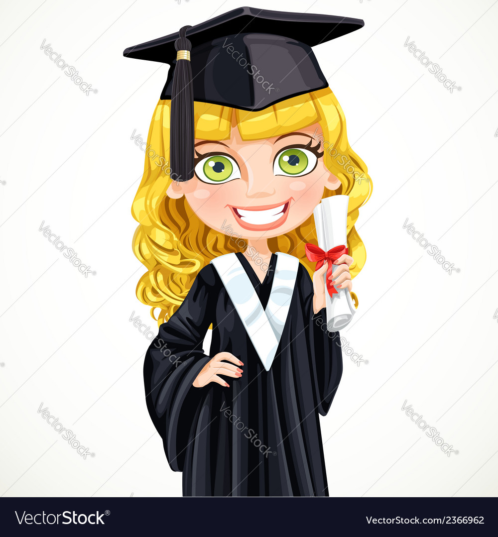 Cute girl in cap holding a scroll diploma vector | Price: 3 Credit (USD $3)