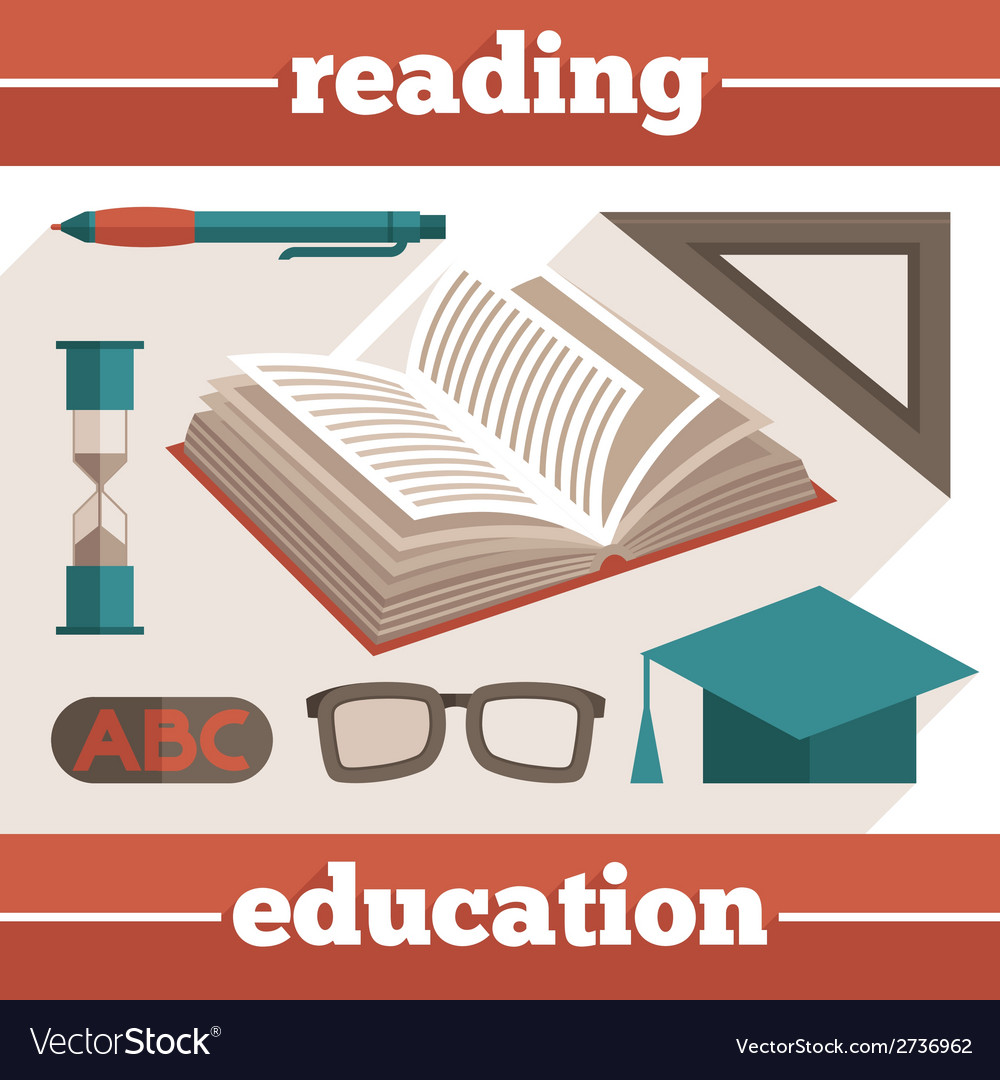 Education reading icons set vector | Price: 1 Credit (USD $1)