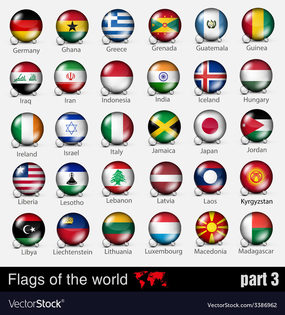 Flags of all countries in the 3d ball vector | Price: 3 Credit (USD $3)