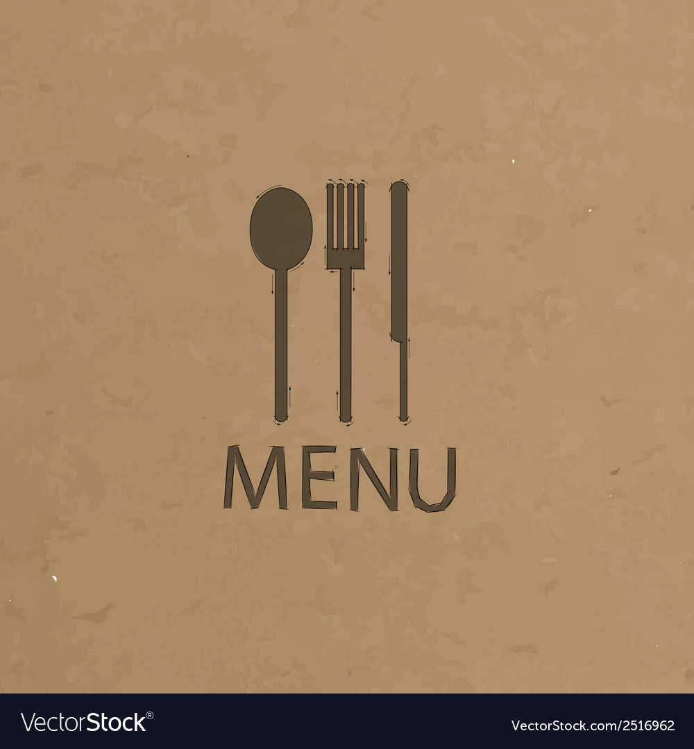 Fork and knife recycled paper stick on pattern vector | Price: 1 Credit (USD $1)