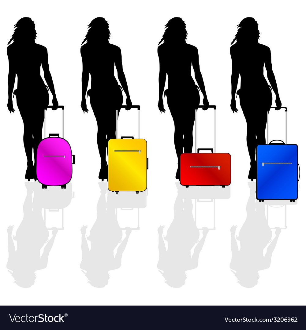 Girl with a suitcase vector   Price: 1 Credit (USD $1)