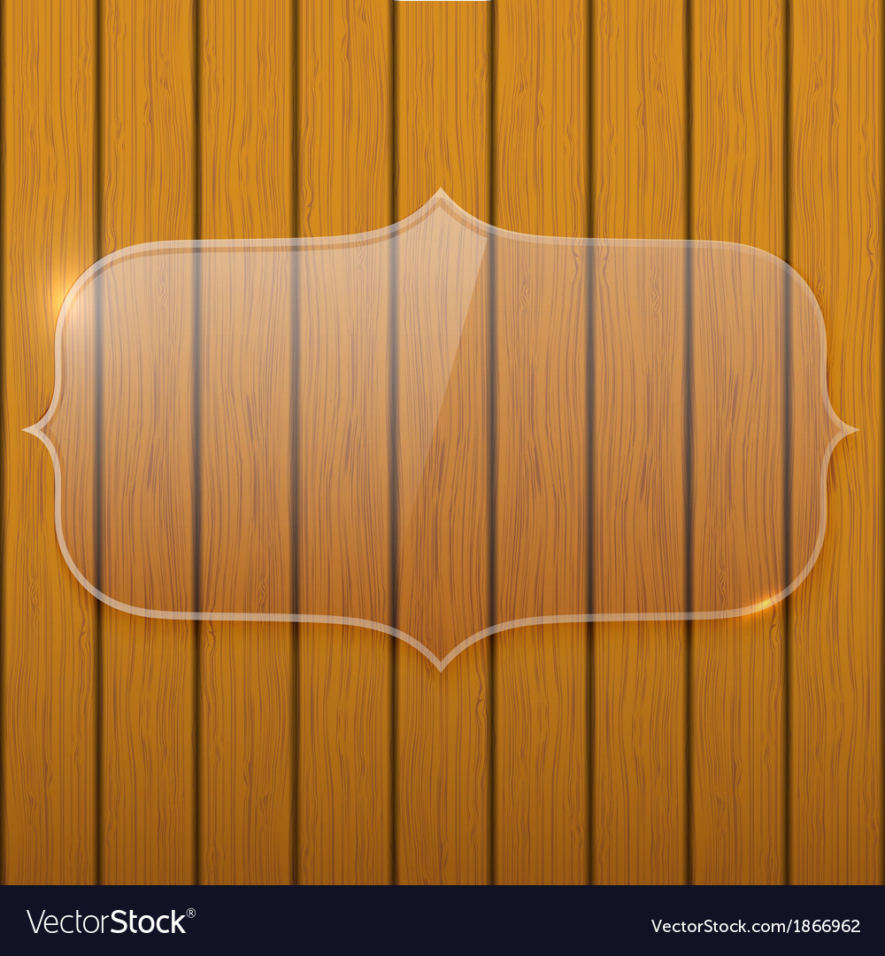 Glass plate on the wooden wall vector | Price: 1 Credit (USD $1)
