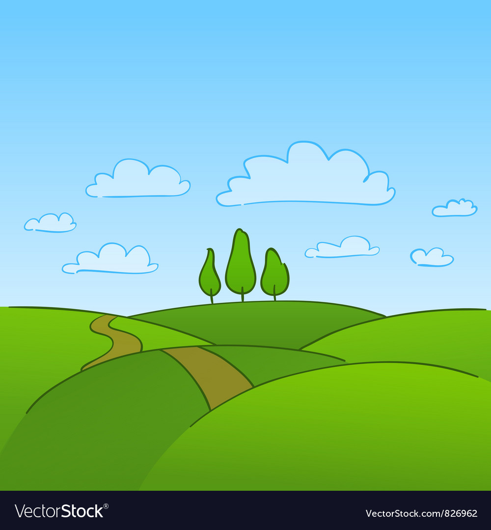 Green countryside and trees vector | Price: 1 Credit (USD $1)