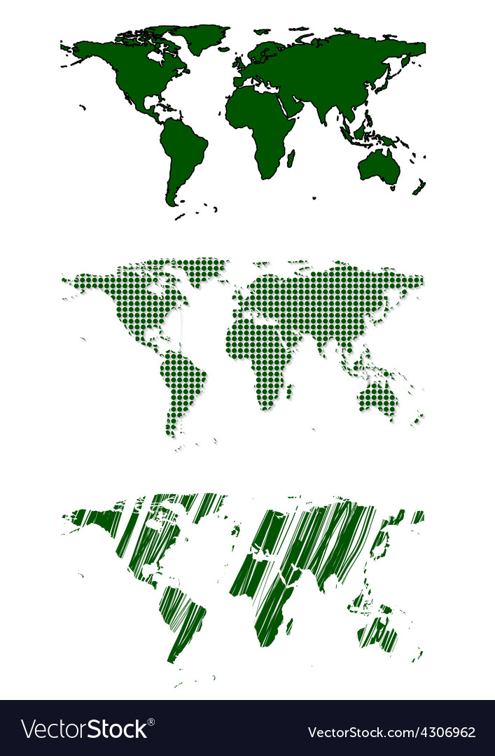 Green world map design vector | Price: 1 Credit (USD $1)