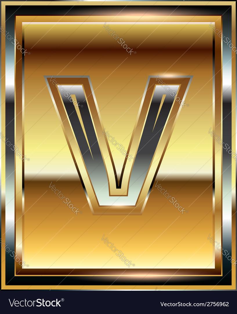 Ingot font letter v vector | Price: 1 Credit (USD $1)
