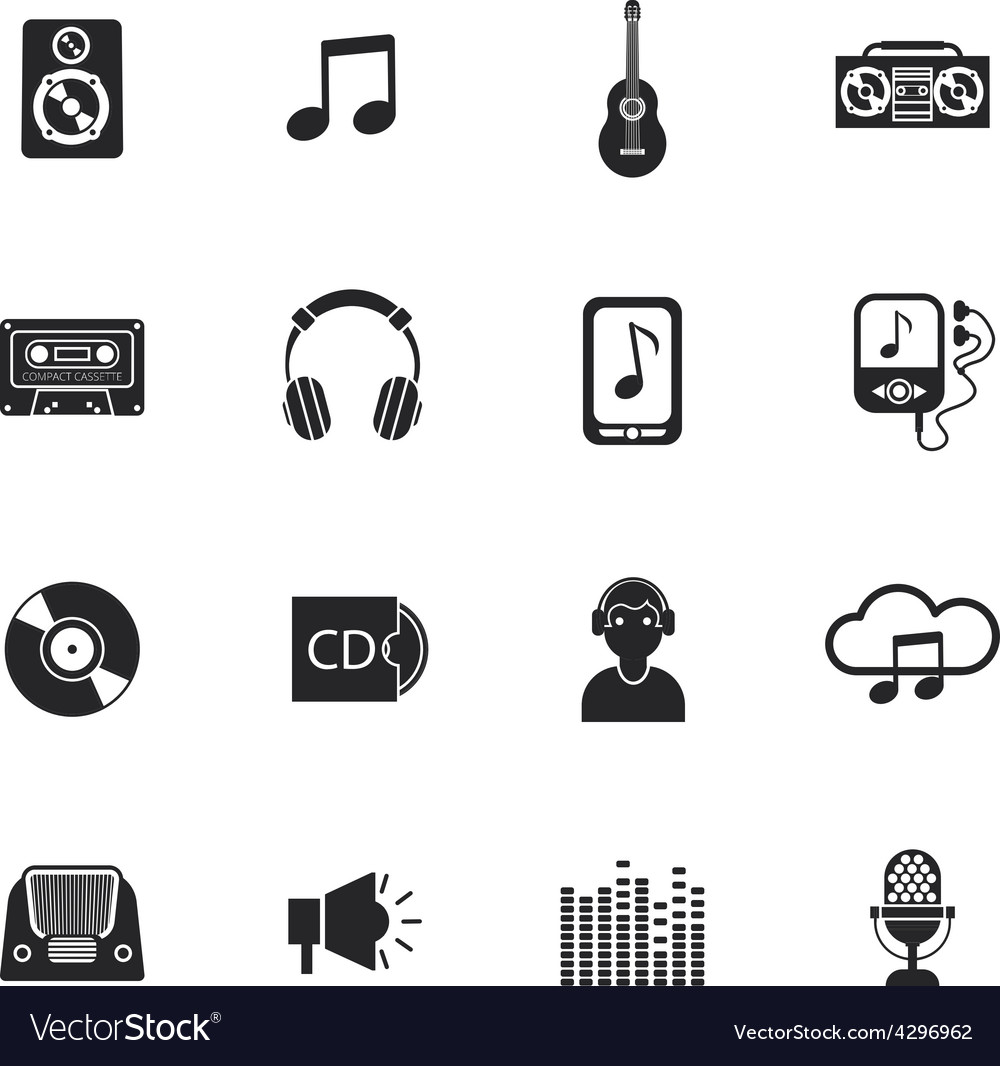 Music icons set mobile black vector | Price: 1 Credit (USD $1)