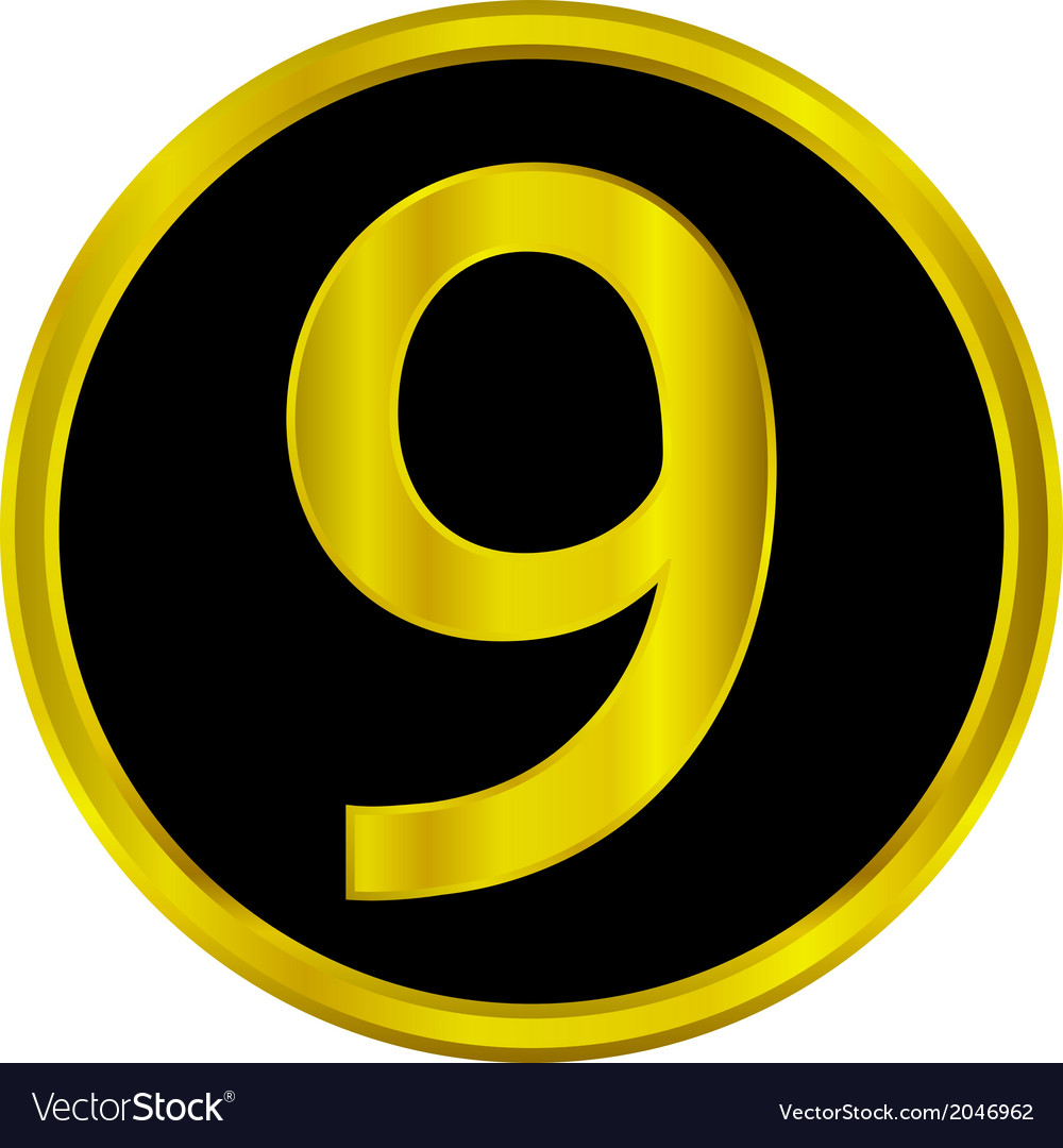 Number nine button vector | Price: 1 Credit (USD $1)