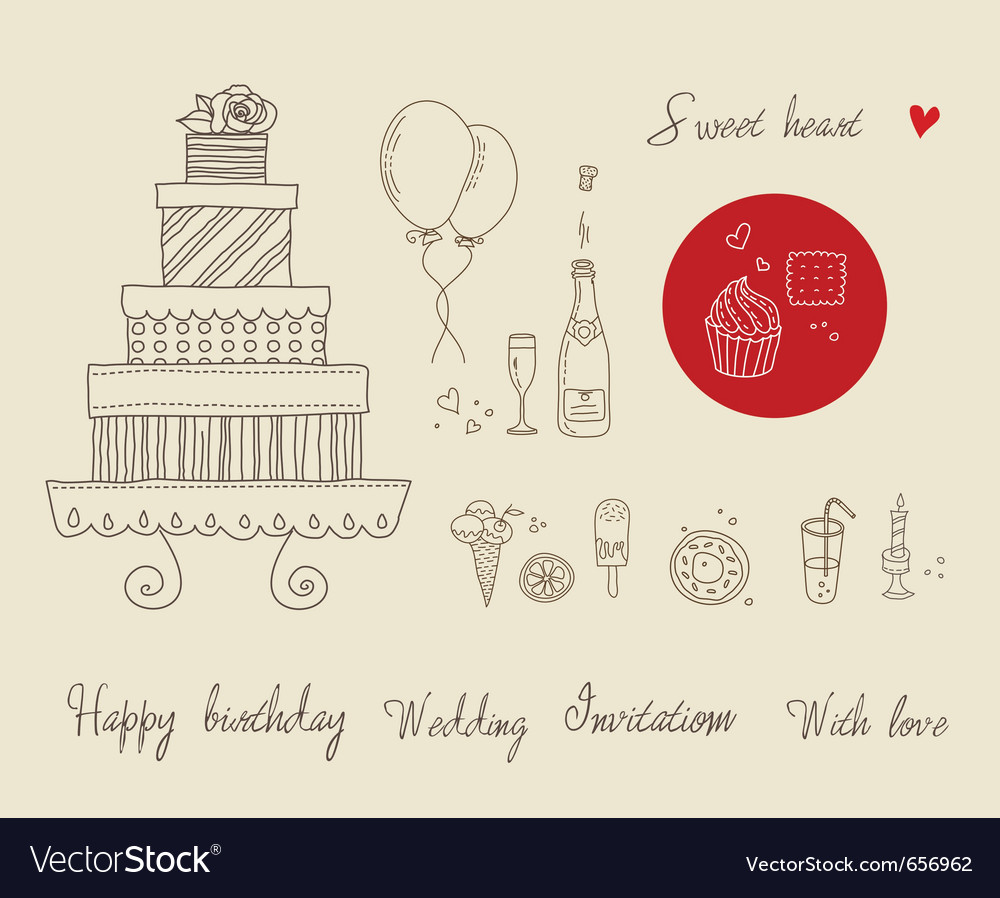 Party food icon set vector | Price: 1 Credit (USD $1)