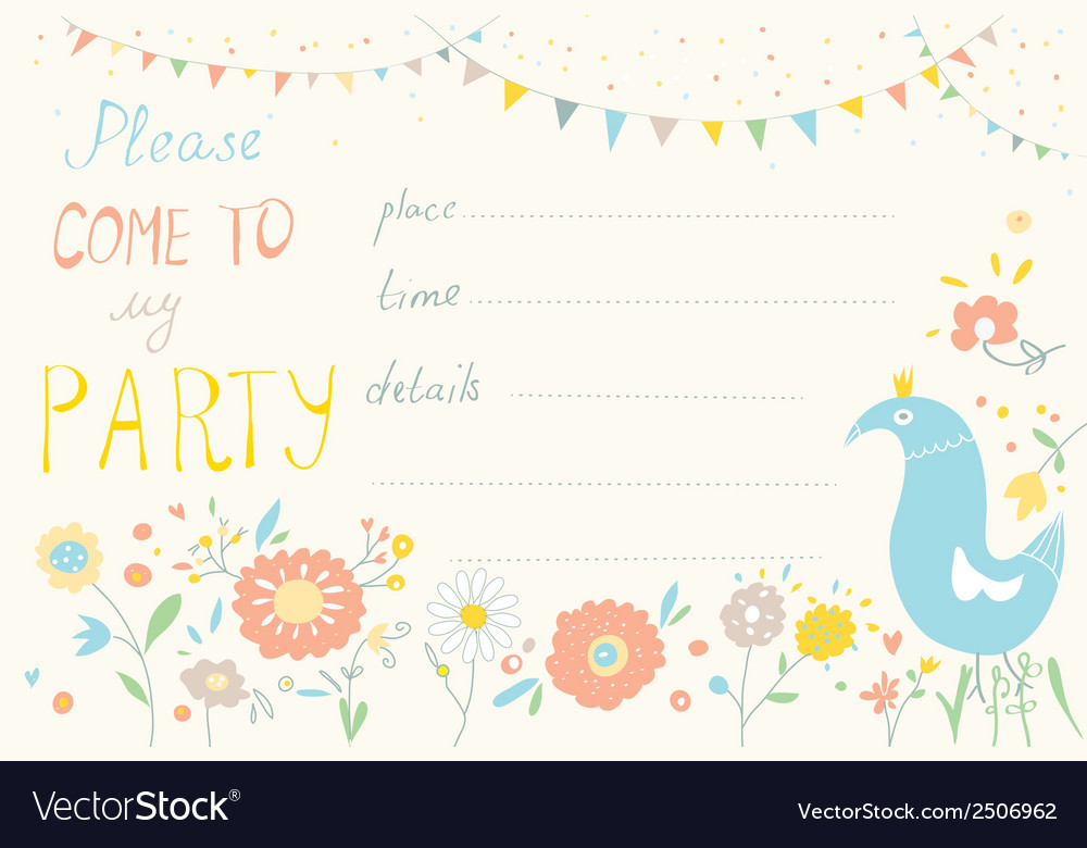 Party invitation with flower and bird cute design vector | Price: 1 Credit (USD $1)