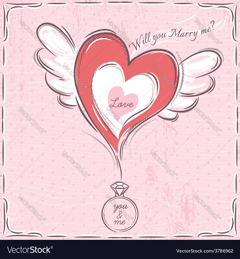 Pink valentine card with heart and engagement ring vector | Price: 1 Credit (USD $1)