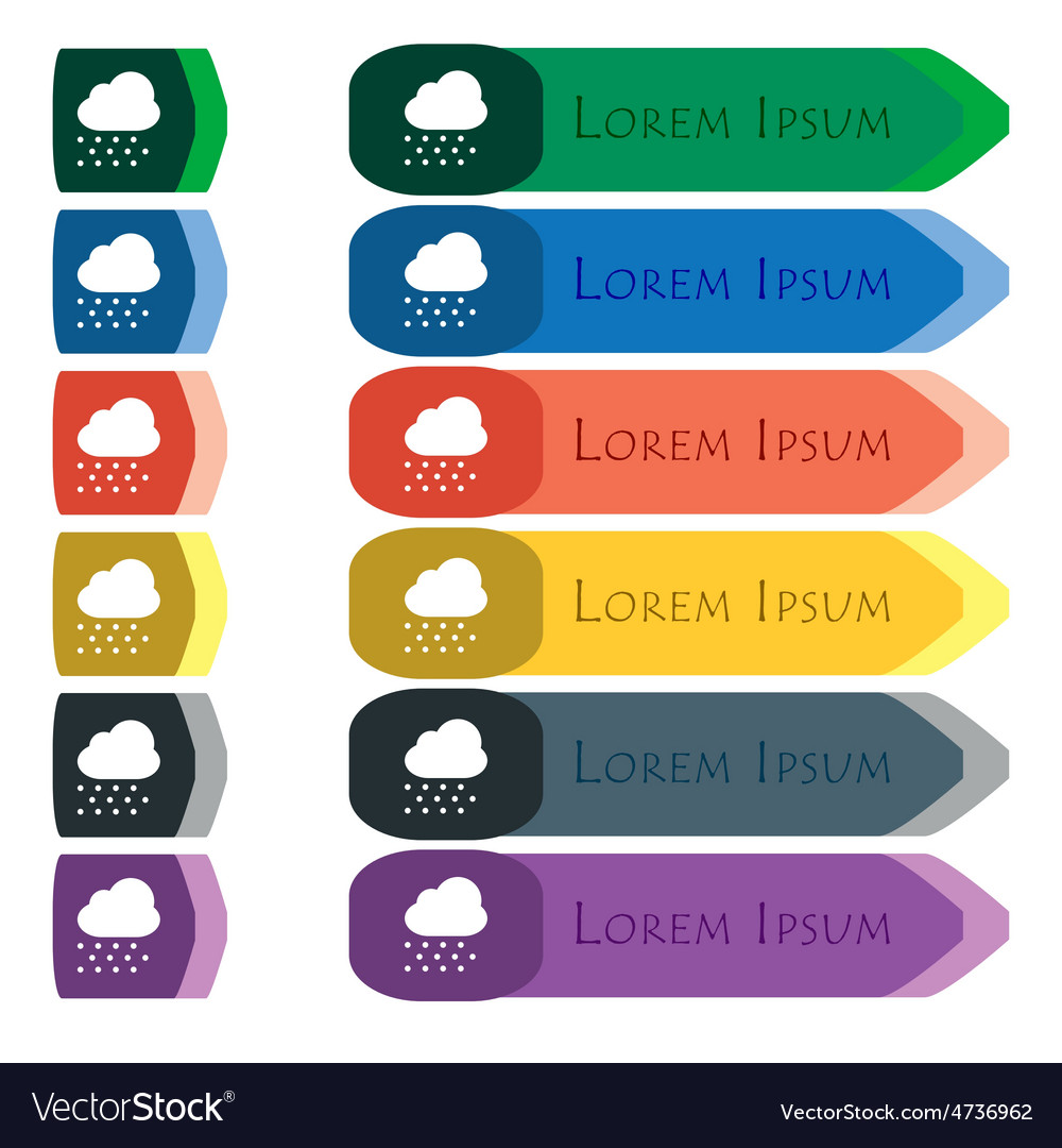 Snowing icon sign set of colorful bright long vector | Price: 1 Credit (USD $1)