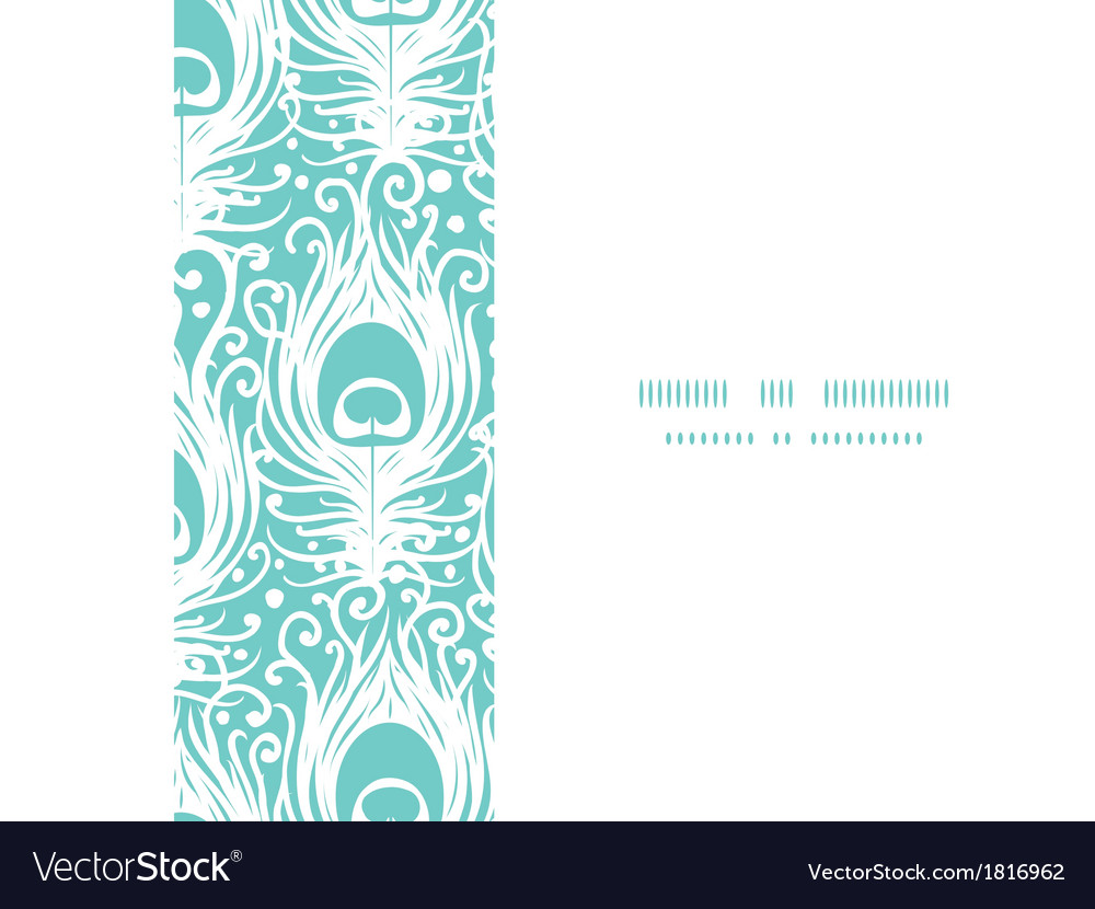 Soft peacock feathers horizontal frame seamless vector | Price: 1 Credit (USD $1)