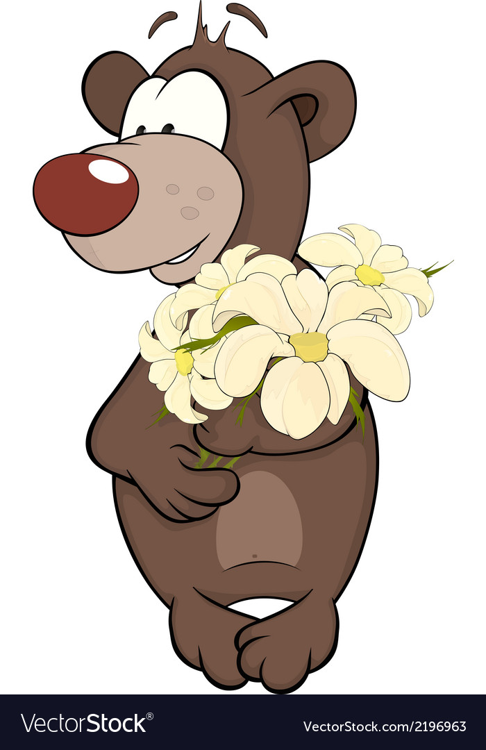 Bear cub and a flowers vector | Price: 1 Credit (USD $1)