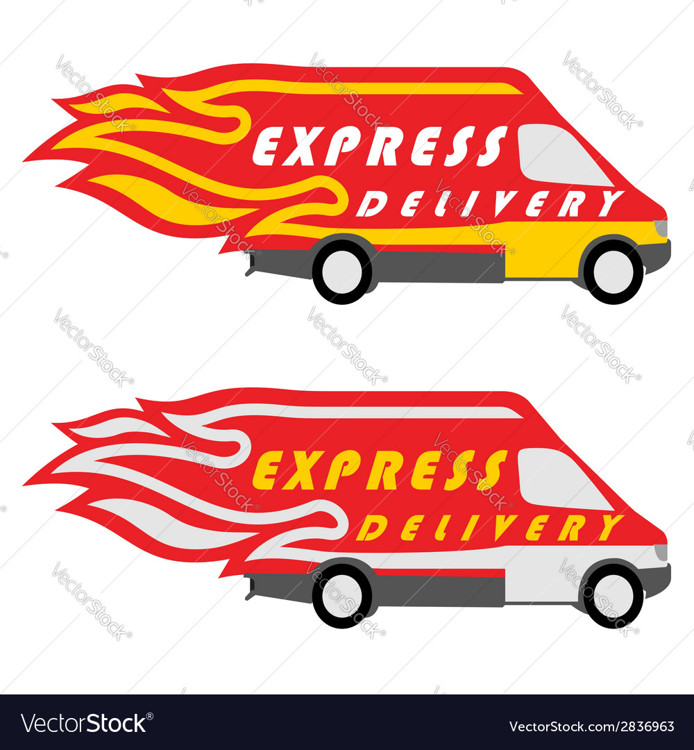 Express delivery symbols yellow-red and vector | Price: 1 Credit (USD $1)