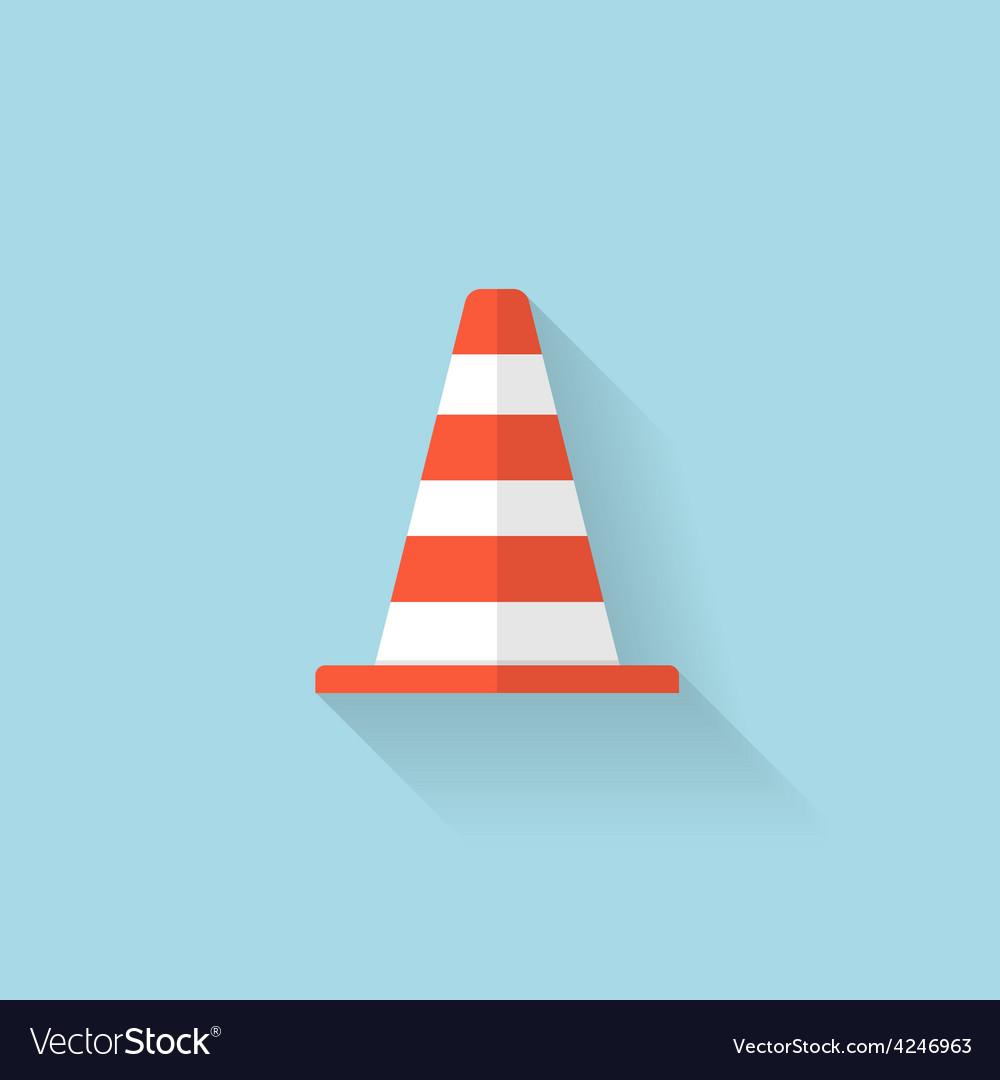 Flat web icon traffic cone vector | Price: 1 Credit (USD $1)