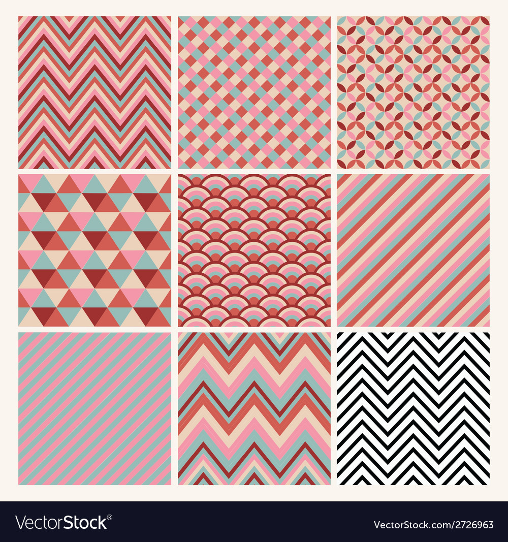Seamless geometric hipster background set vector | Price: 1 Credit (USD $1)
