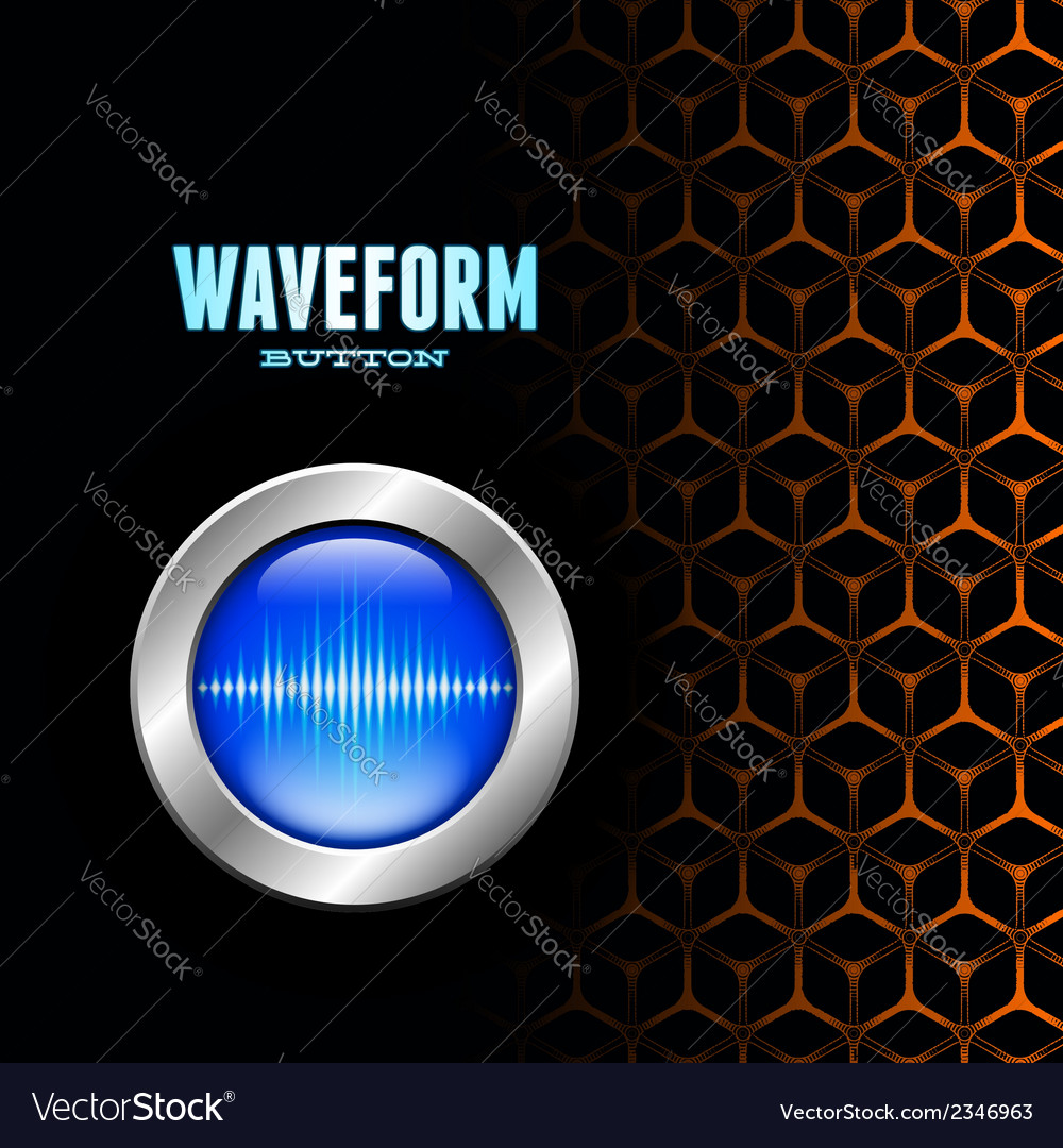 Silver button with sound wave sign on unusual grid vector | Price: 1 Credit (USD $1)