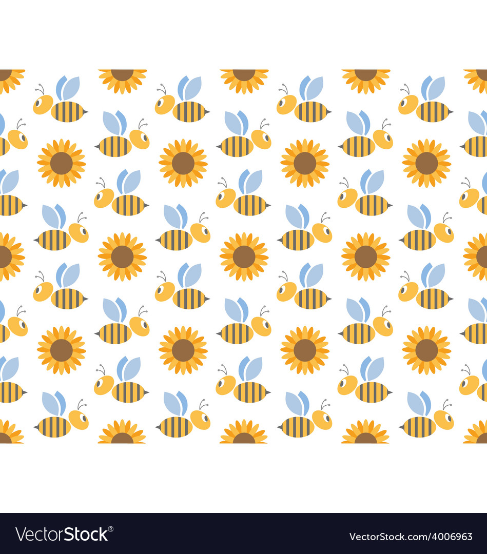 Spring bees and sunflowers seamless pattern vector | Price: 1 Credit (USD $1)