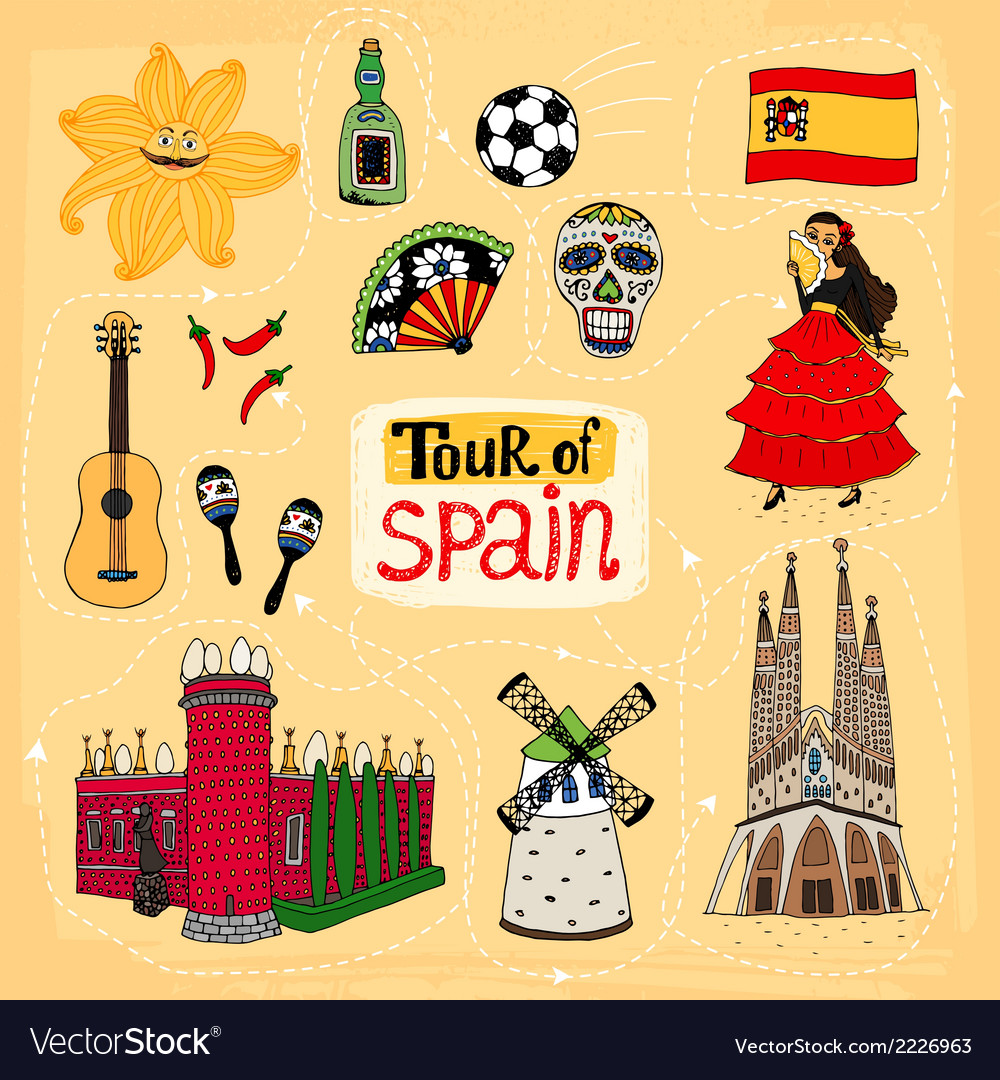 Tour of spain hand-drawn vector | Price: 1 Credit (USD $1)