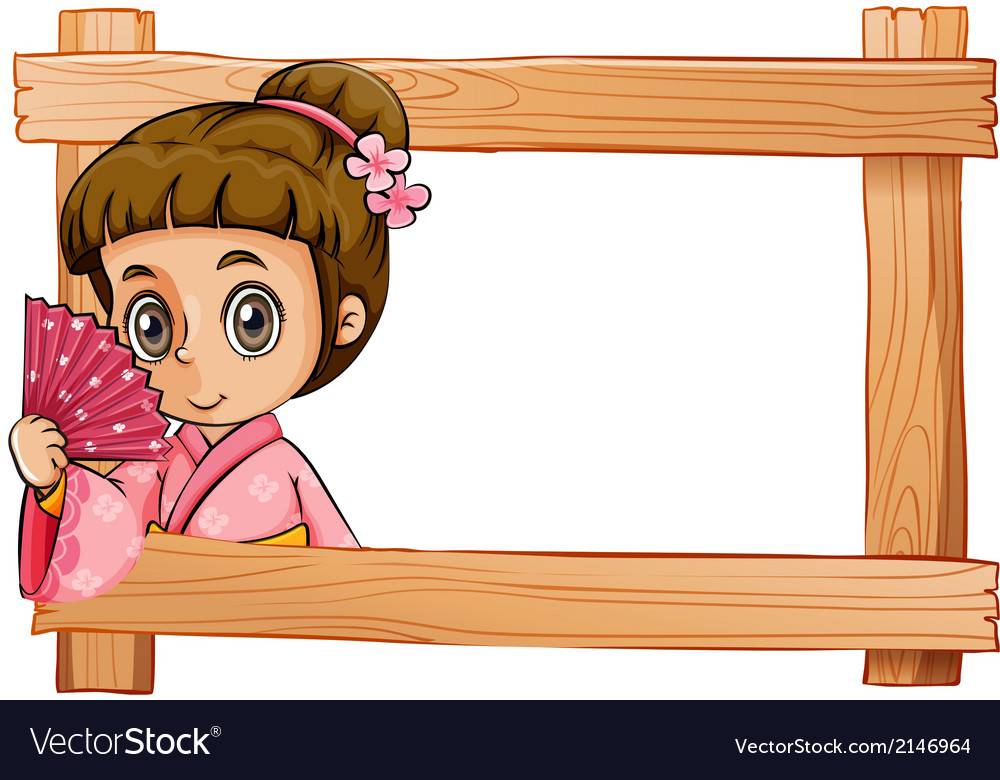 A wooden frame with a girl vector | Price: 3 Credit (USD $3)