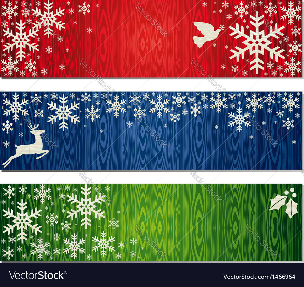 Christmas snowflakes banner backgrounds set vector | Price: 1 Credit (USD $1)