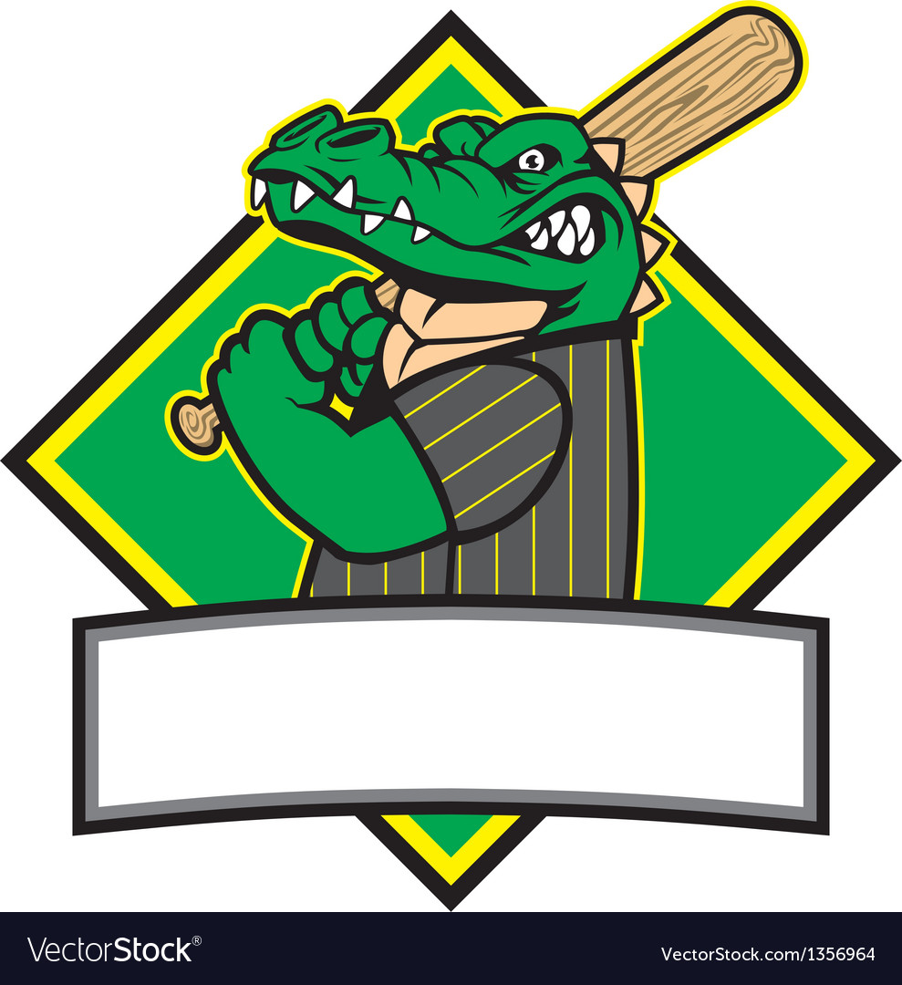 Crocodille baseball player vector | Price: 3 Credit (USD $3)