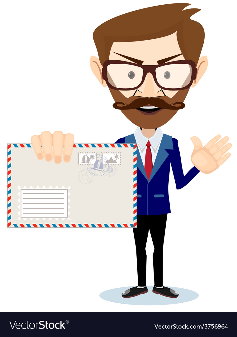 Happy man delivering mail over white background vector | Price: 1 Credit (USD $1)