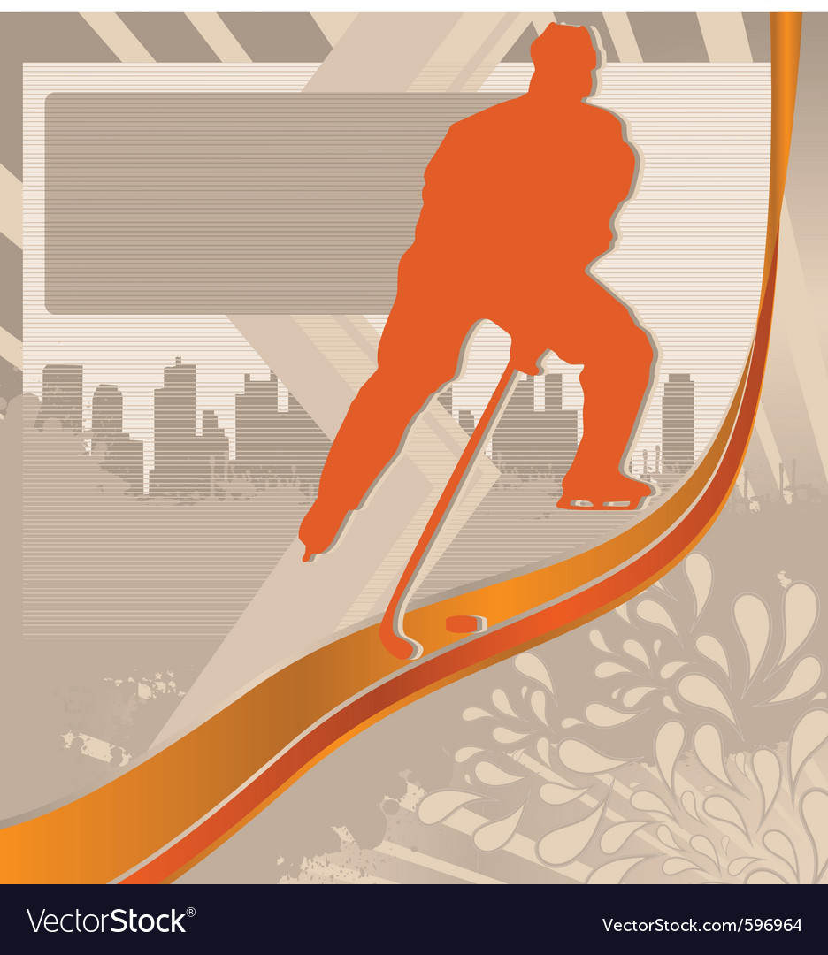 Hockey player silhouette vector | Price: 1 Credit (USD $1)