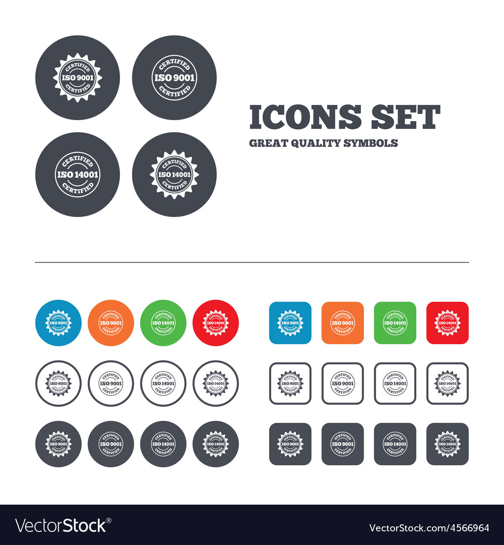 Iso 9001 and 14001 certified icon certification vector | Price: 1 Credit (USD $1)