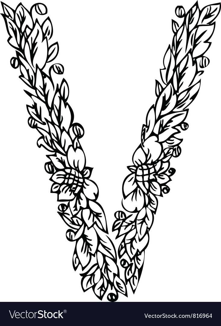 Letters floral v vector | Price: 1 Credit (USD $1)