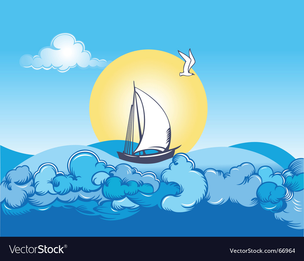 Ocean ship and clouds vector | Price: 1 Credit (USD $1)