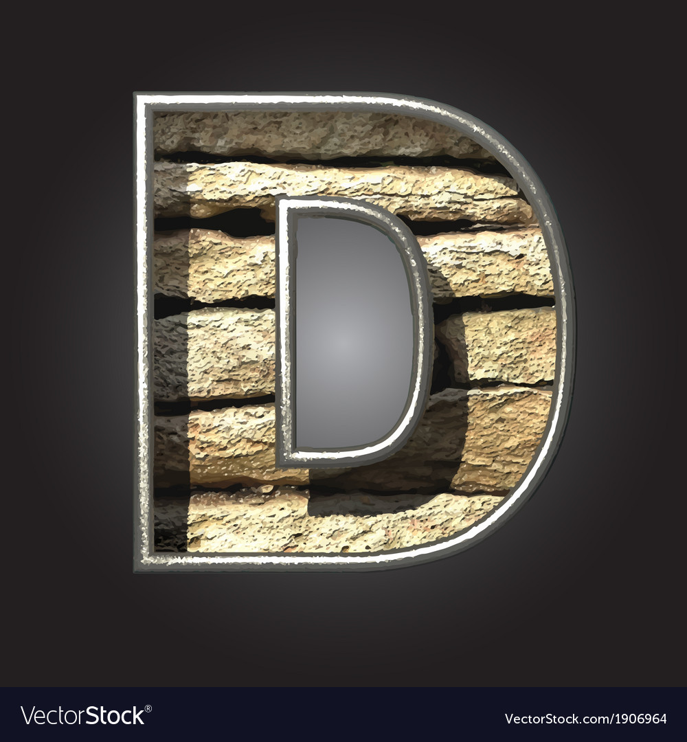 Old stone letter d vector | Price: 1 Credit (USD $1)