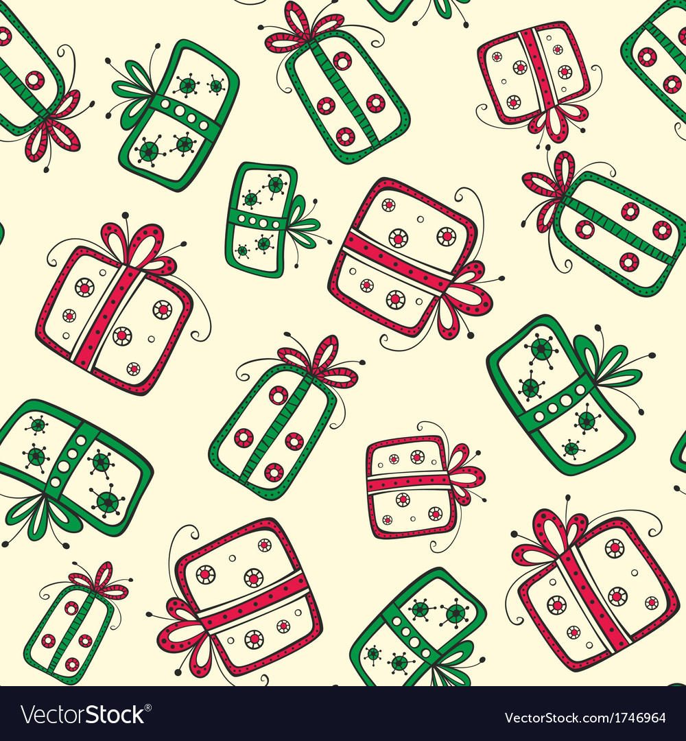 Seamless pattern with christmas red and green vector | Price: 1 Credit (USD $1)