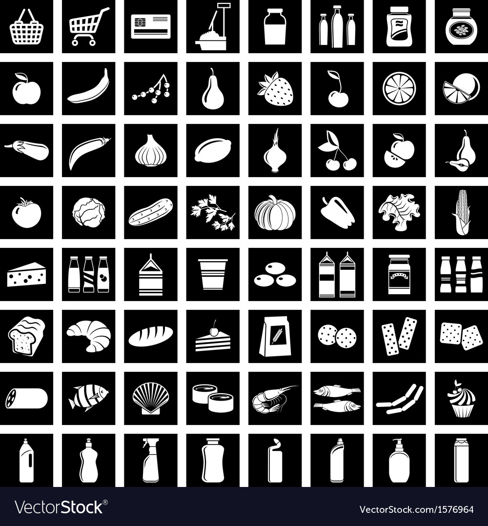 Set of supermarket symbols vector | Price: 1 Credit (USD $1)