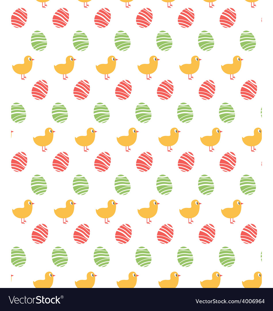 Spring easter egg and chicken seamless pattern vector | Price: 1 Credit (USD $1)