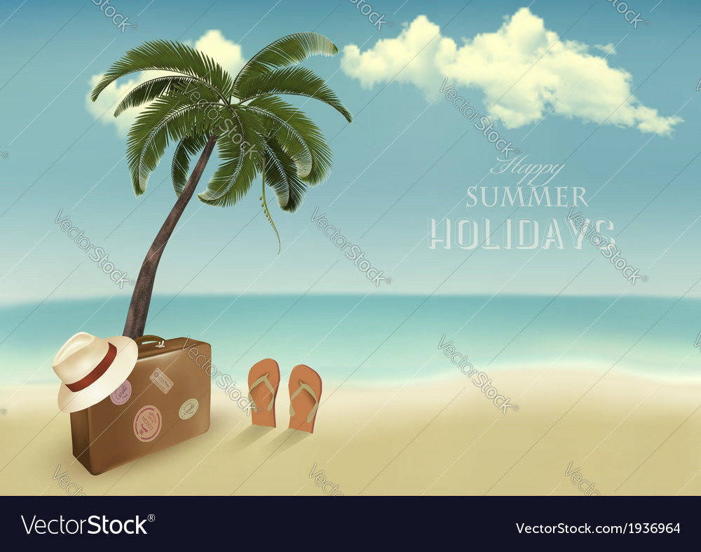 Vintage seaside background with suitcase and a hat vector | Price: 1 Credit (USD $1)