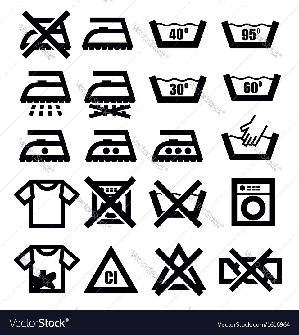 Washing signs and clothes vector | Price: 1 Credit (USD $1)