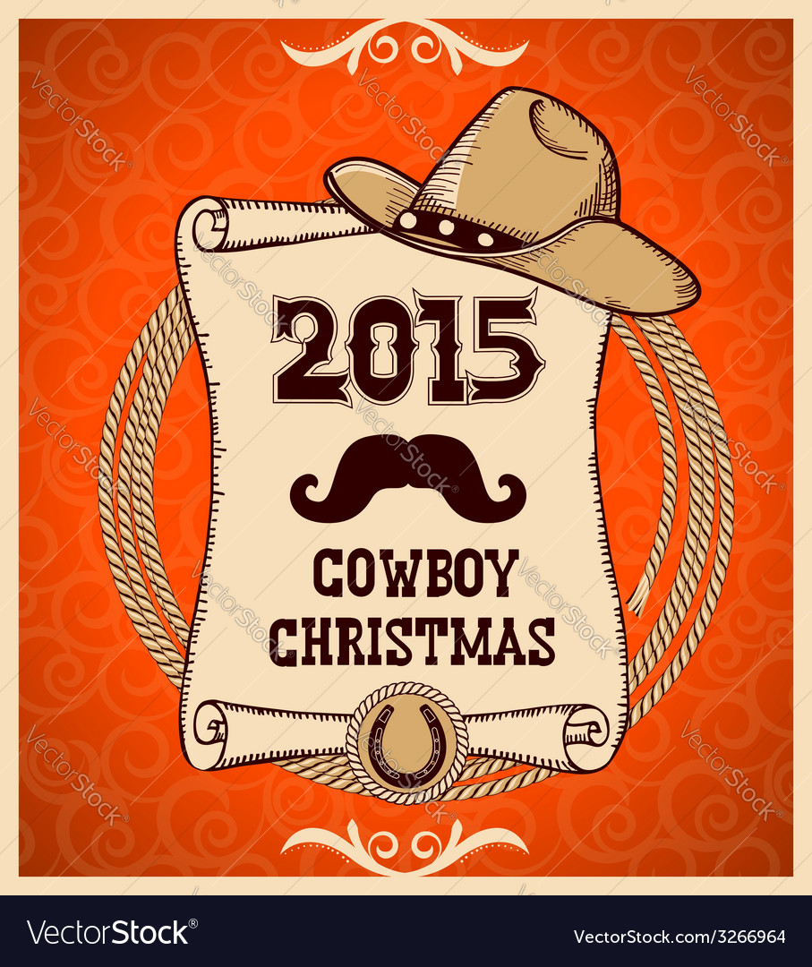 Western new year greeting card with scroll vector   Price: 1 Credit (USD $1)