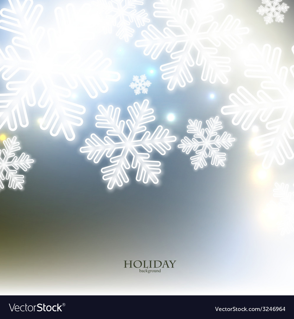 White defocused snowflakes on glow background vector | Price: 1 Credit (USD $1)