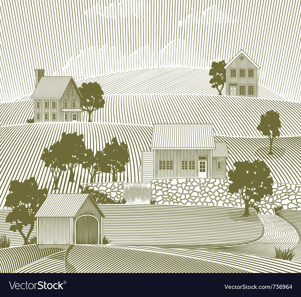 Woodcut folk art village vector | Price: 1 Credit (USD $1)