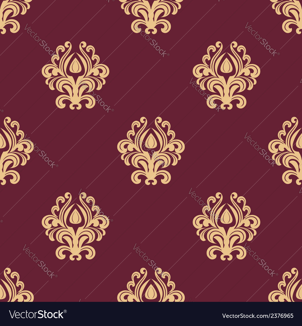 Beige floral seamless pattern on maroon background vector | Price: 1 Credit (USD $1)