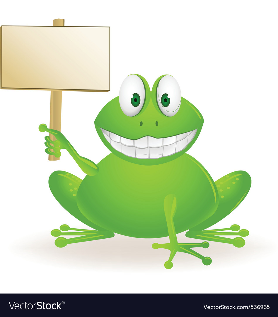 Frog cartoon and blank sign vector   Price: 1 Credit (USD $1)