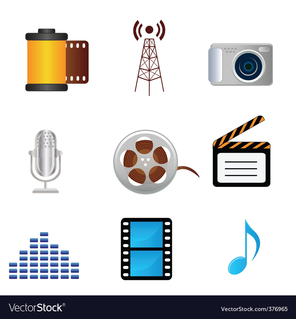 Media icons vector | Price: 3 Credit (USD $3)