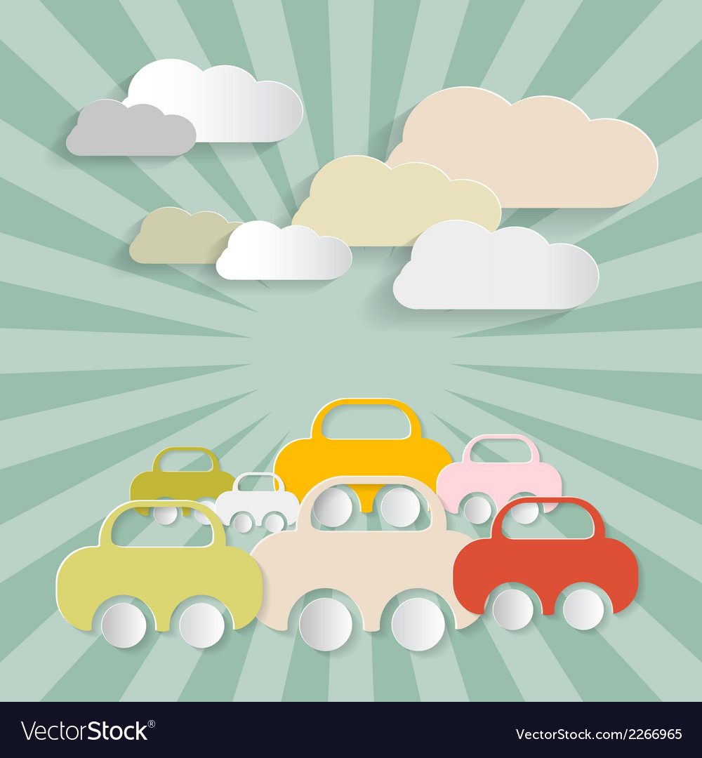 Paper cars and clouds vector | Price: 1 Credit (USD $1)