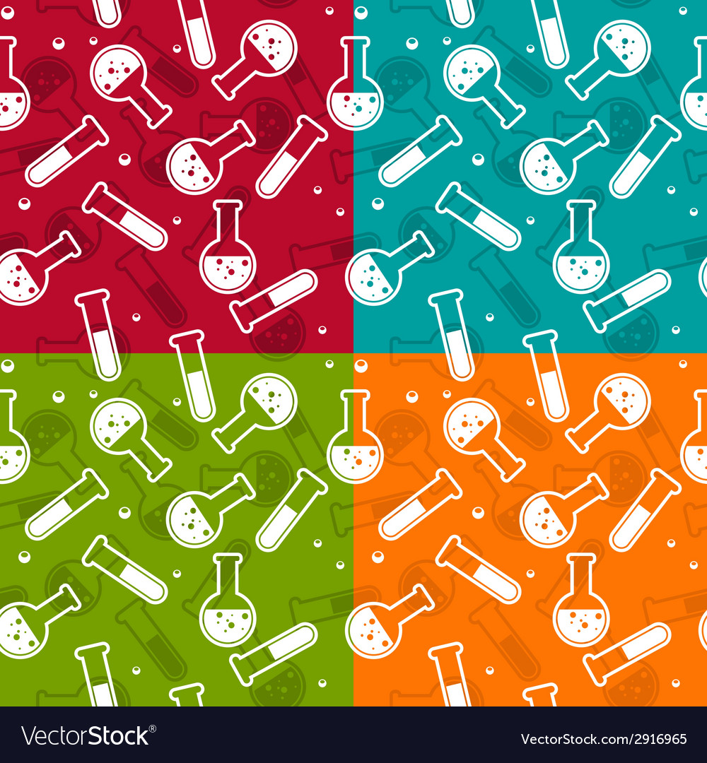 Seamless background with lab test tubes and flasks vector | Price: 1 Credit (USD $1)