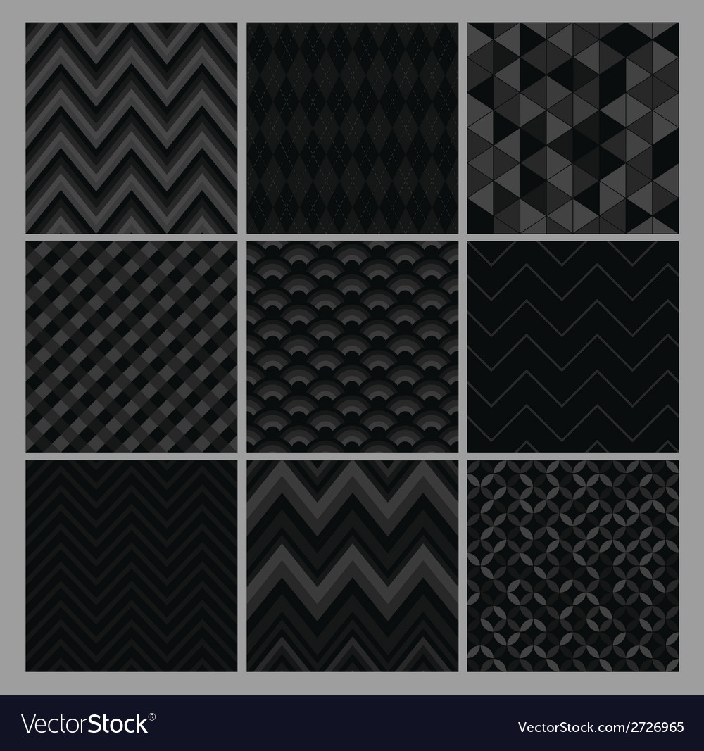 Seamless black geometric hipster background set vector | Price: 1 Credit (USD $1)